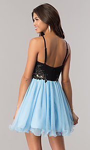 Image of a-line short homecoming dress with illusion sides. Style: BN-58050 Back Image