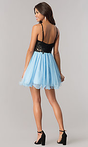 Image of a-line short homecoming dress with illusion sides. Style: BN-58050 Detail Image 2