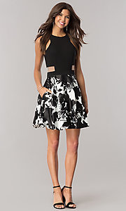 Image of short black and white homecoming dress with pockets. Style: BN-58055 Detail Image 1