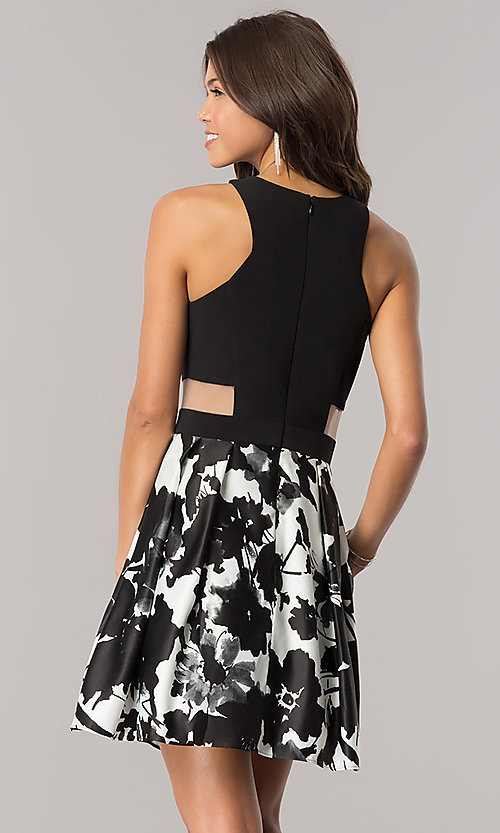 Image of short black and white homecoming dress with pockets. Style: BN-58055 Back Image