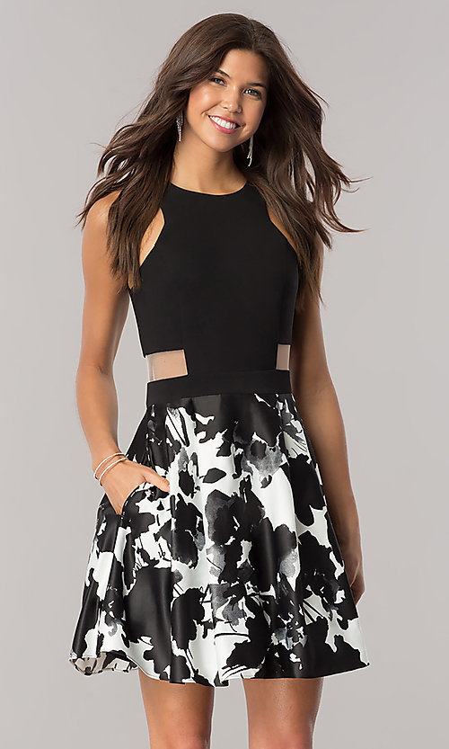 Image of short black and white homecoming dress with pockets. Style: BN-58055 Front Image