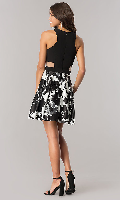 Image of short black and white homecoming dress with pockets. Style: BN-58055 Detail Image 2