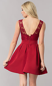 Image of short burgundy red homecoming dress with lace bodice.  Style: LP-24086-B Back Image