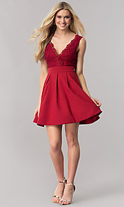 Image of short burgundy red homecoming dress with lace bodice.  Style: LP-24086-B Detail Image 1