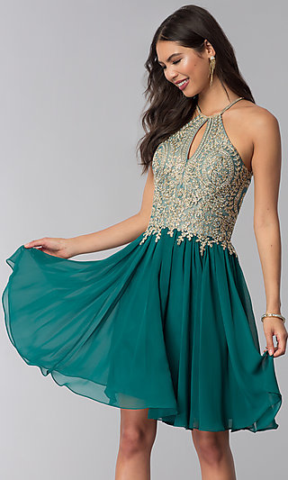 Short Homecoming Dress with Beaded High-Neck Bodice