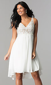 Image of Terani ivory high-low homecoming party dress. Style: TI-1721H4514 Front Image