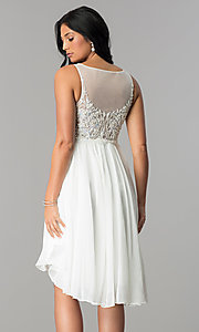 Image of Terani ivory high-low homecoming party dress. Style: TI-1721H4514 Back Image