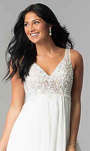 Image of Terani ivory high-low homecoming party dress. Style: TI-1721H4514 Detail Image 1