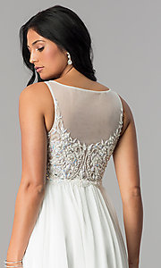 Image of Terani ivory high-low homecoming party dress. Style: TI-1721H4514 Detail Image 2