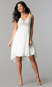 Image of Terani ivory high-low homecoming party dress. Style: TI-1721H4514 Detail Image 3