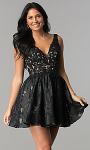 Image of printed-skirt short black homecoming dress. Style: TI-GL-1725H4802 Front Image