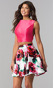 Image of short two-piece homecoming dress with floral print.  Style: TI-GL-1725H4805 Front Image