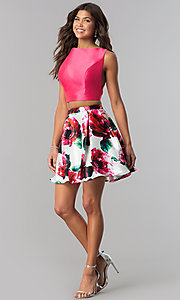 Image of short two-piece homecoming dress with floral print.  Style: TI-GL-1725H4805 Detail Image 1