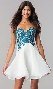 corsetback short strapless ivory homecoming dress