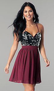 Image of short burgundy red sequin homecoming party dress. Style: LP-24742 Front Image