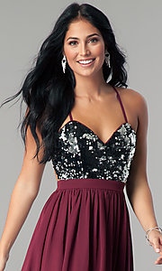 Image of short burgundy red sequin homecoming party dress. Style: LP-24742 Detail Image 1