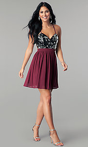 Image of short burgundy red sequin homecoming party dress. Style: LP-24742 Detail Image 2