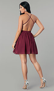 Image of short burgundy red sequin homecoming party dress. Style: LP-24742 Detail Image 3