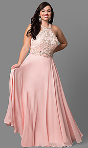 Image of beaded-bodice plus-size long formal dress. Style: DQ-9591P Front Image