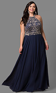 Image of beaded-bodice plus-size long formal dress. Style: DQ-9591P Detail Image 2