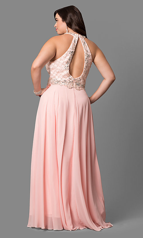 Image of beaded-bodice plus-size long formal dress. Style: DQ-9591P Back Image