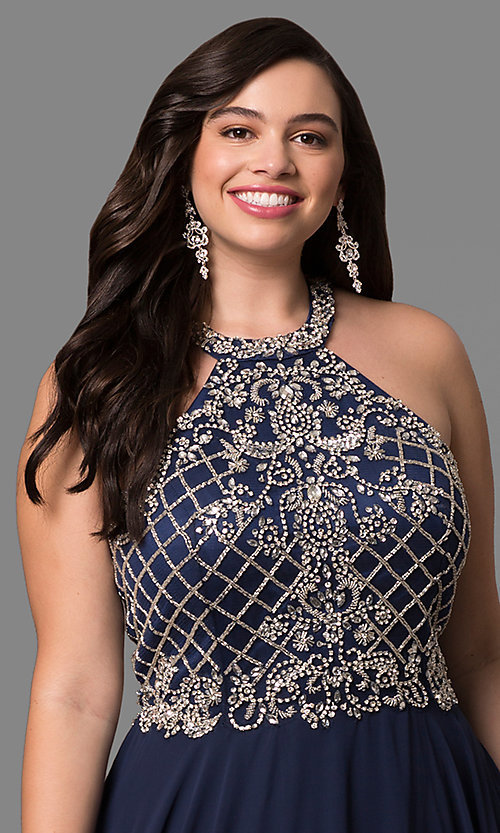Image of beaded-bodice plus-size long formal dress. Style: DQ-9591P Detail Image 3