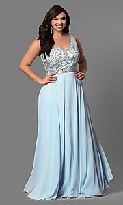Image of plus-size long prom dress with beaded v-neck bodice.  Style: DQ-9589P Front Image