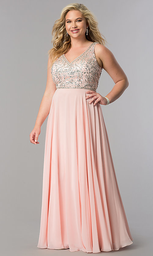 Image of plus-size long prom dress with beaded v-neck bodice.  Style: DQ-9589P Detail Image 1