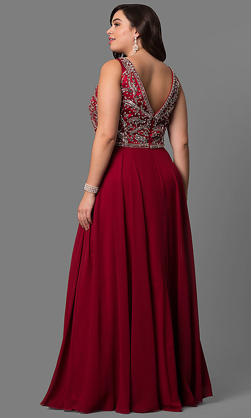 Image of plus-size long prom dress with beaded v-neck bodice.  Style: DQ-9589P Back Image