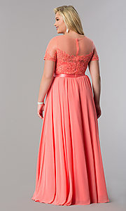 Image of plus-size lace-bodice long formal dress with sleeves. Style: DQ-9710P Detail Image 6