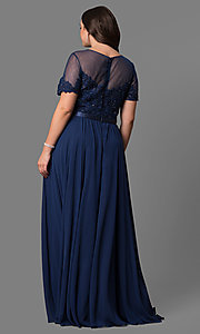 Image of plus-size lace-bodice long formal dress with sleeves. Style: DQ-9710P Detail Image 4