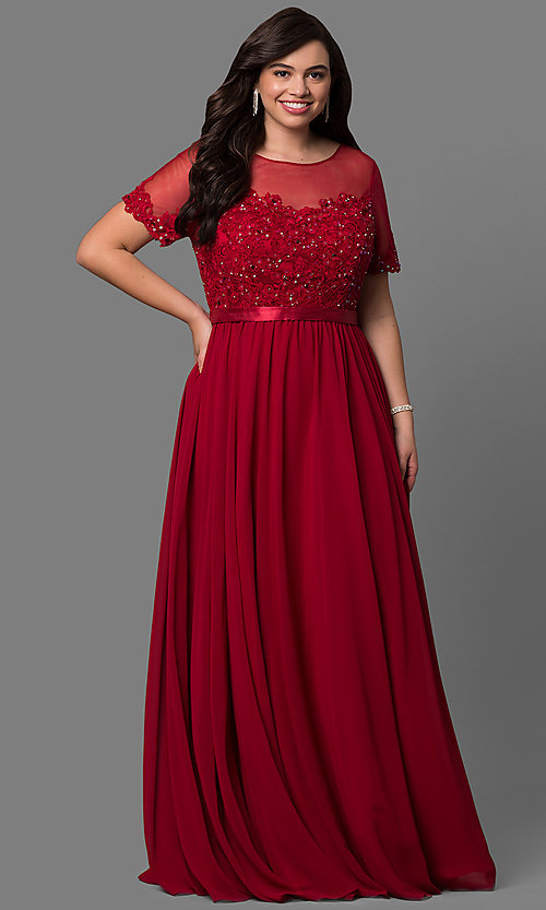 Image of plus-size lace-bodice long formal dress with sleeves. Style: DQ-9710P Front Image