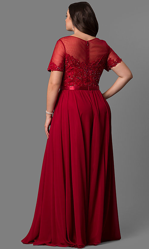 Image of plus-size lace-bodice long formal dress with sleeves. Style: DQ-9710P Back Image