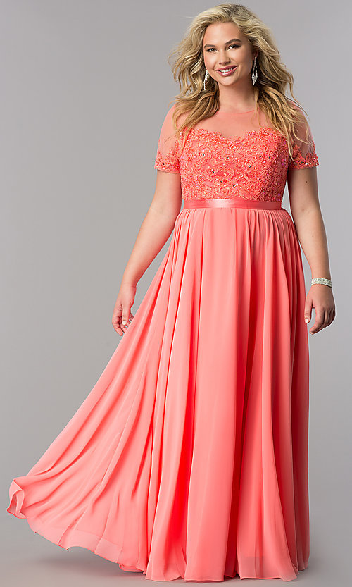Image of plus-size lace-bodice long formal dress with sleeves. Style: DQ-9710P Detail Image 2