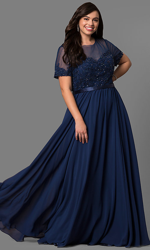 Image of plus-size lace-bodice long formal dress with sleeves. Style: DQ-9710P Detail Image 1
