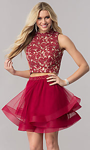 Image of burgundy red two-piece short homecoming dress. Style: CT-8145ZJ9B Front Image