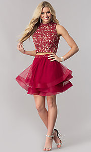 Image of burgundy red two-piece short homecoming dress. Style: CT-8145ZJ9B Detail Image 1