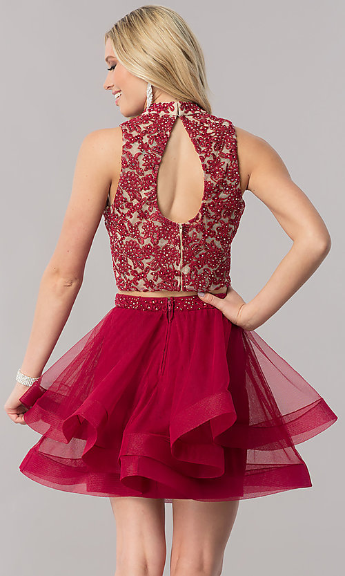 Image of burgundy red two-piece short homecoming dress. Style: CT-8145ZJ9B Back Image
