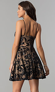 Image of sequin-embellished short homecoming party dress. Style: CT-8385AW3B Back Image