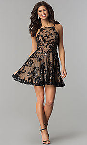 Image of sequin-embellished short homecoming party dress. Style: CT-8385AW3B Detail Image 2