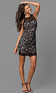 Image of short lace homecoming party sheath dress. Style: MY-2129YZ1C Detail Image 1