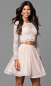 Image of buff pink two-piece homecoming dress with sleeves. Style: MY-4053ZJ1P Front Image