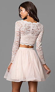 Image of buff pink two-piece homecoming dress with sleeves. Style: MY-4053ZJ1P Back Image