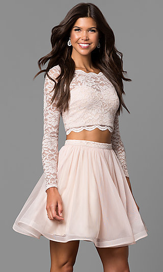 Buff Pink Two-Piece Homecoming Dress with Sleeves