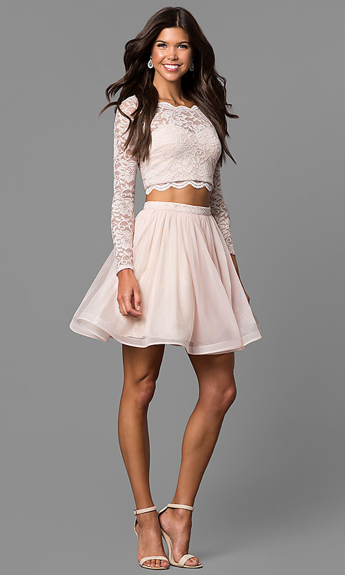 Image of buff pink two-piece homecoming dress with sleeves. Style: MY-4053ZJ1P Detail Image 1