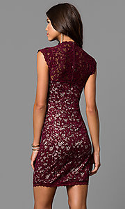 Image of lace short homecoming party dress with cap sleeves.  Style: MY-4413XX1C Back Image