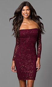 Image of malbec red off-the-shoulder short homecoming dress.  Style: MY-4647IW1C Front Image