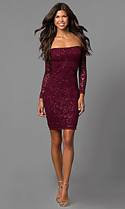 Image of malbec red off-the-shoulder short homecoming dress.  Style: MY-4647IW1C Detail Image 2