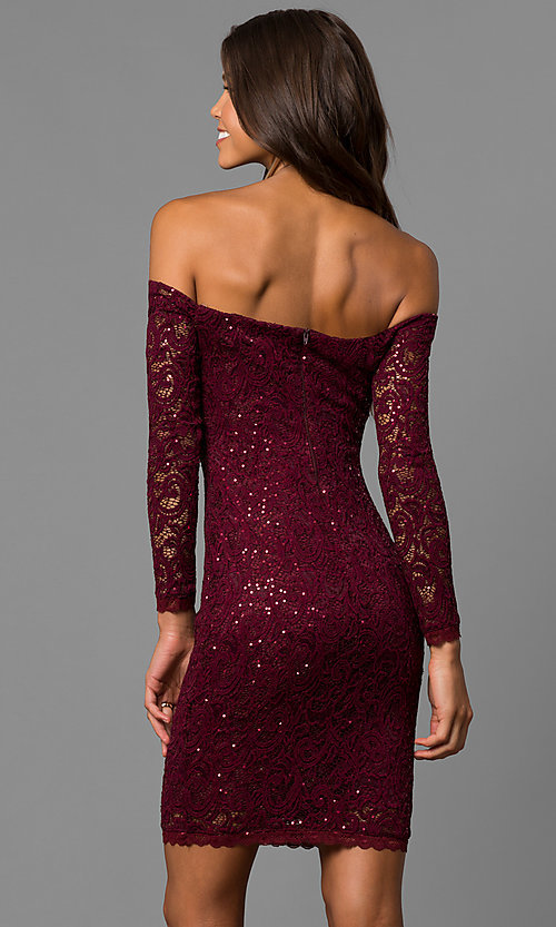 Image of malbec red off-the-shoulder short homecoming dress.  Style: MY-4647IW1C Back Image