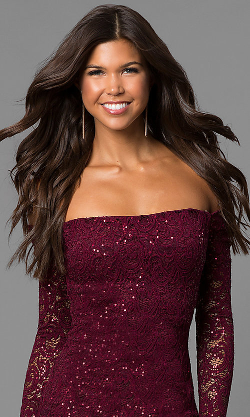 Image of malbec red off-the-shoulder short homecoming dress.  Style: MY-4647IW1C Detail Image 1